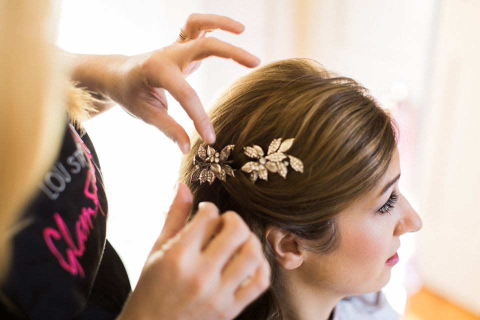 Vintage hair piece for the finishing touch!