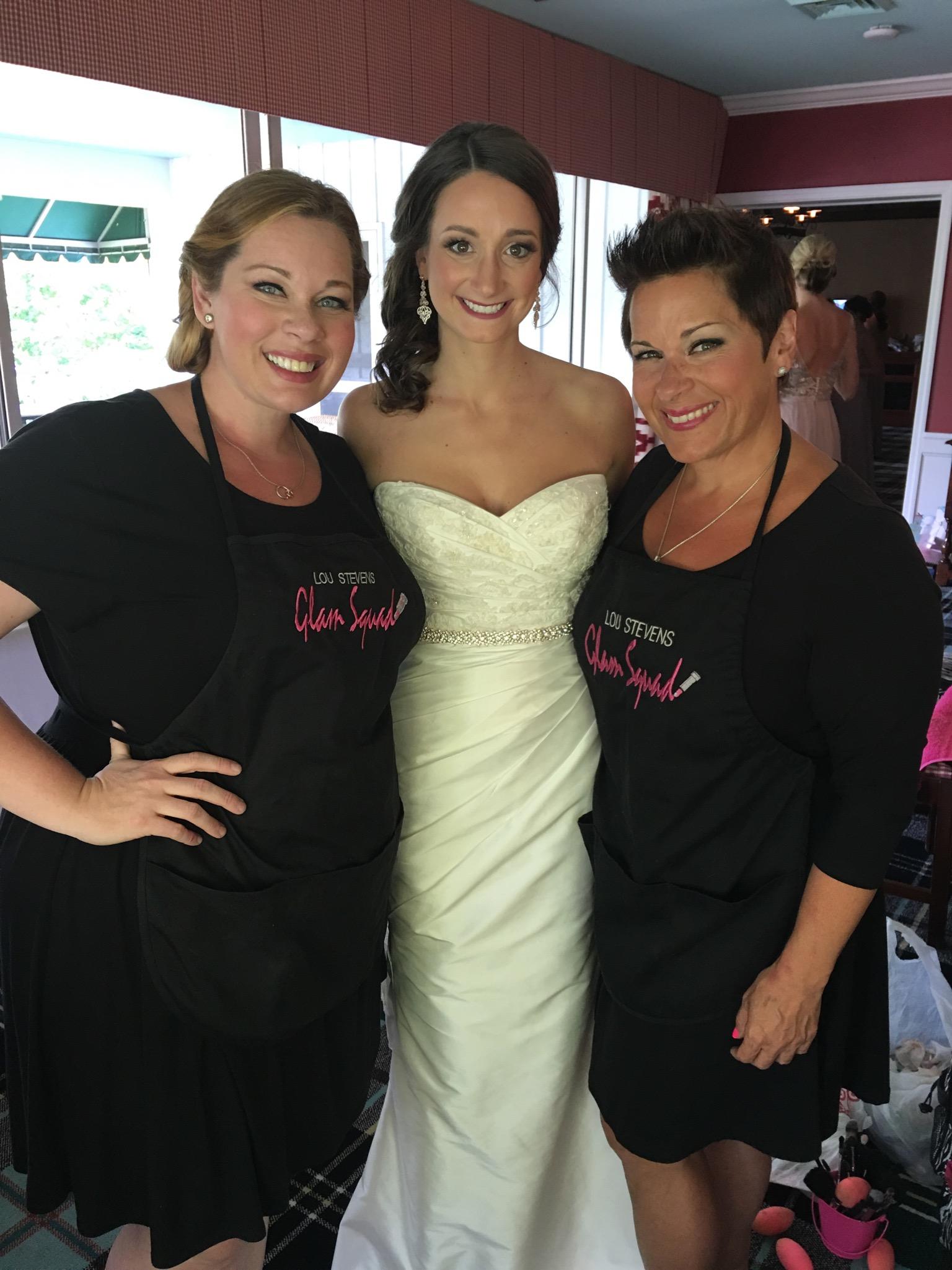 Glam Squad and bride sandwich!